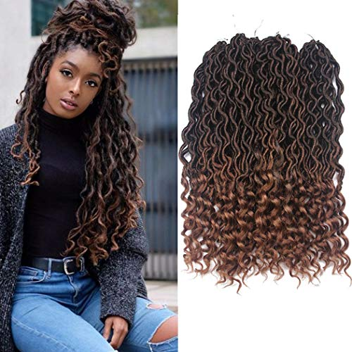 Dorsanee Goddess Faux Locs Crochet Hair Braids Wavy Synthetic Braiding Hair Deep Wave Curly Ends Loc Hair Extension New Style Fashion and Bouncy(6Packs,T1B/30#)