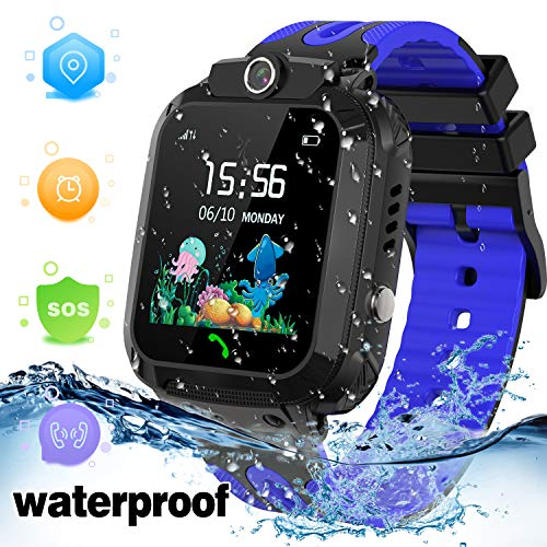 LDB Kinder Smartwatch Phone, wasserdichte Tracker Micro Chat SOS Wecker Touchscreen Anti Verlorene Spiel Junge Mädchen Weihnachts Geburtstagsgeschenk (Blau)