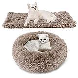 Bangcool Cama para mascotas, 2 PCS Suave Redondo Mascotas Cojín Cama de Felpa Nido de gato cálido y suave + Manta suave para Perros y Gatos, Braun