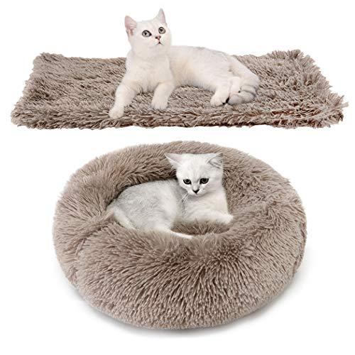 Bangcool Haustierbett für Katzen und Hunde, 2 PCS Runden Plüsch Katzenbett Hundebett mit Haustierdecke in Doughnut-Form für Haustiere innerhalb von 4 kg (8,82ib) Braun