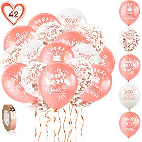 HOWAF Juego de Globos de decoración de Feliz año Nuevo Oro Rosa,  40 Oro Rosa Globos de látex de año Nuevo 2021 Globos de Confeti Dorado y 2 Cintas para Decoracion Nochevieja 2021