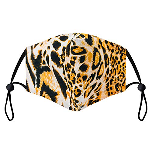 1/6 Stück Baumwolle Mund Mundschutz Leoparden Zebra Muster Erwachsene Unisex Wiederverwendbare Waschbar Atmungsaktiv Mundbedeckung für Täglicher Gebrauch (1 Stück, C)