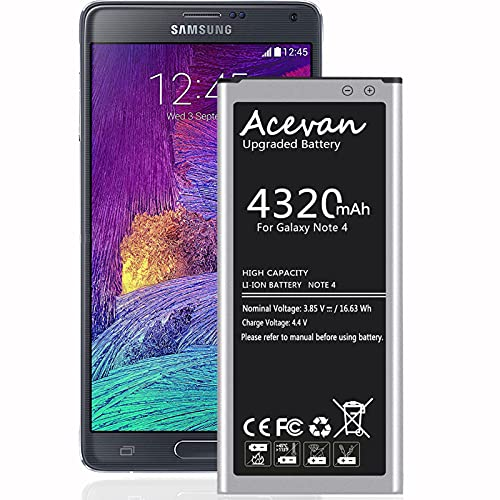 Galaxy Note 4 Battery Acevan Upgrade 4320mAh Replacement Battery for Samsung Galaxy Note 4 N910 N910A AT&T N910V Verizon N910P Sprint N910T T-Mobile N910U LTE N910F N910R4 Note 4 Batteries