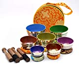 Chakra Healing Tibetan Singing Bowl Set ~ Seven Chakra Color with...