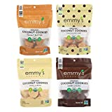 Emmy's Organic Coconut Cookies Variety Pack of 4 Flavors ( Peanut Butter, Vanilla Bean, Chocolate Chip, Dark Cacao ) 6 Ounce
