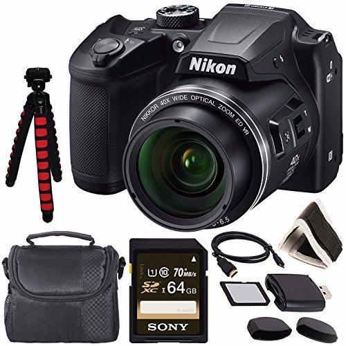 "Nikon COOLPIX B500 Digital Camera (Black) 26506 + Sony 64GB UHS-I SDXC Memory Card (Class 10) + Flexible 12"" Tripod + Small Soft Carrying Case + HDMI Cable + Card Reader + Memory Card Wallet Bundle"
