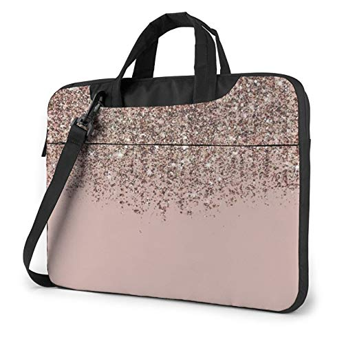 Laptop Case, Blush Pink Rose Gold Bronze Cascading Glitter Print Laptop Shoulder Bags Multi-Functional Notebook Sleeve,13-14-15.6 Inch