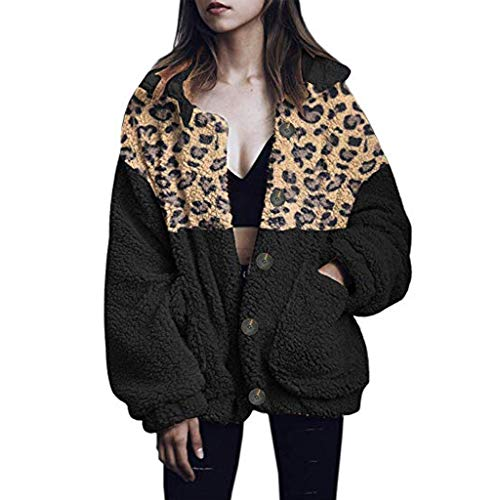 Xmiral Jacke Damen Leopard Patchwork Plüschtasche Langer Warm Mantel Umlegekragen Strickjacken Knopf Flaumig Winterjacke Wintermäntel(Schwarz,XL)