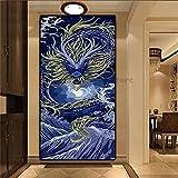 5d pintura diamante grande set, Dragón de mar azul Bricolaje Diamond Painting taladro completo Cristal Bordado Pinturas Artes kit de punto de cruz para decoración de la pared del hogar 60x180cm