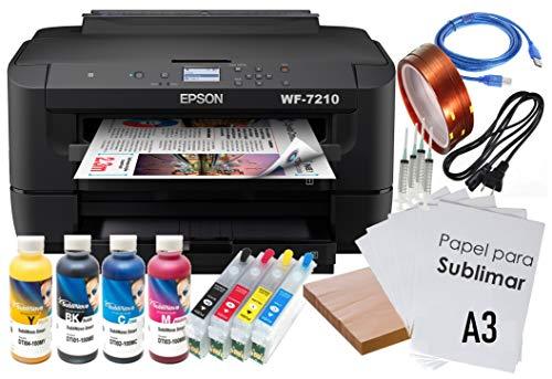 Kit Impresora SUBLIMACIÓN A3 WF-7210 Recargables 4 X 100 ML TINTAS 100 Hojas GLOPPAPER A3