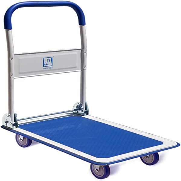 Push Cart Dolly By Wellmax Moving Platform Hand Truck Foldable For Easy Storage And 360 Degree Swivel Wheels With 660lb Weight Capacity Blue Color
