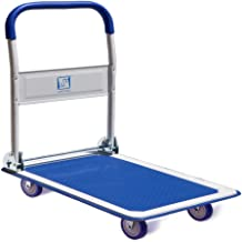Push Cart Dolly by Wellmax, Moving Platform Hand Truck, Foldable for Easy Storage and 360 Degree Swivel Wheels with 660lb Weight Capacity, Blue Color