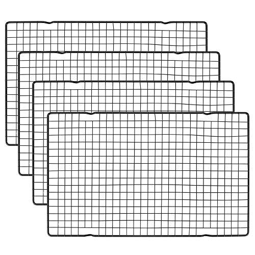 LYTIVAGEN 4 Stück Auskühlgitter Edelstahl Abkühlgitter Eckig Backgitter Kuchenrost Schwarz Kuchenkühler Kuchengitter zum Braten Backen Grillen Kühlen Auskühlen, 40,5 x 25cm