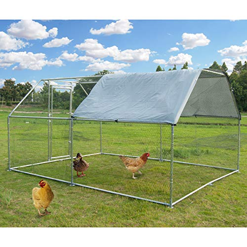 Large Metal Chicken Coop Walk-in Poultry Cage Hen Run House Rabbits Habitat Cage FlatRoofed Cage with Waterproof and Anti-Ultraviolet Cover for Outdoor Backyard Farm Use (9.2' L x 12.5' W x 6.4' H)