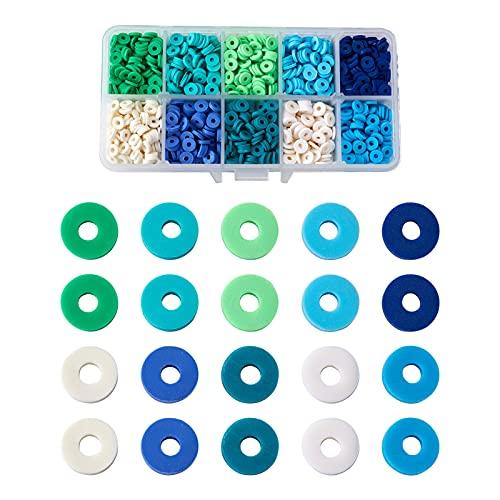 Cheriswelry Cuentas Heishi de 6 mm, 2200 cuentas planas redondas de arcilla polimérica hechas a mano con rebanada de arcilla suelta para hacer pulseras de joyería
