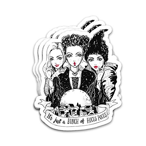 Kimlosk Hocus-Pocus It's Just A Bunch. Halloween Vintage Retro Fan Arts Best Gift Ideas Stickers for Laptops Tumblers Books Luggages Cases Pack 3x4 in Vinyl 3pcs/Pack