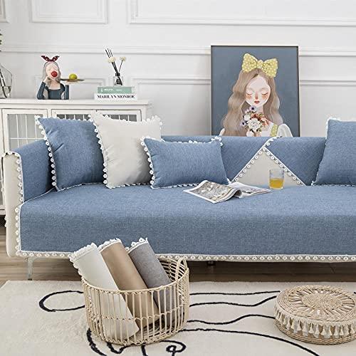 KENEL Multifunktion Sofa Überwürfe Cover, Sofa Sesselschutz Vier Jahreszeiten Stoff Spitze Sofakissen-90 * 240 cm_Blau-b-Verkauft in stück