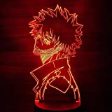 Anime Lamp Night Light Illusion Light My Hero Academia Dabi 3D for Kid Bedroom LED Child Christmas Gift Bedside Colorful Birthday Lampara Nightlight(16 Color with Remote)