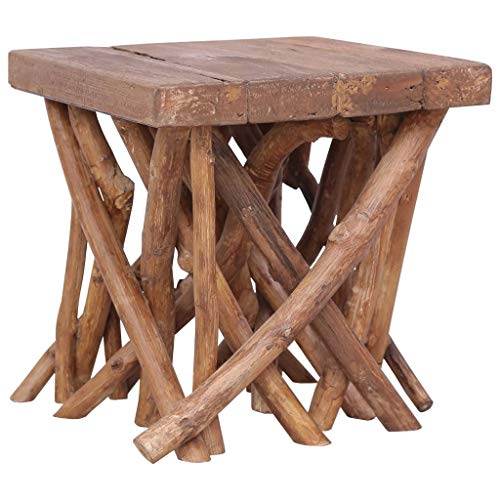 vidaXL Massivholz Couchtisch Baumstamm Beistelltisch Wohnzimmertisch Holztisch Sofatisch Kaffeetisch Tisch Massivholztisch 40x40x40cm Braun