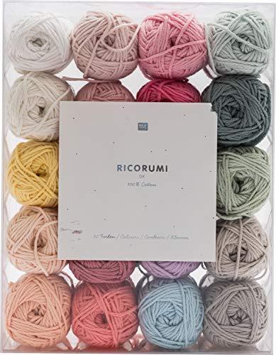 Rico Design Creative Ricorumi dk Set pastell 20 Farben 25g - Häkelgarn / Baumwollgarn - Wolle / Garn zum Stricken und Basteln - DIY
