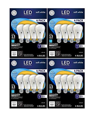 16 PACK GE LED 60W = 10W Soft White 60 Watt Equivalent A19 2700K light bulb