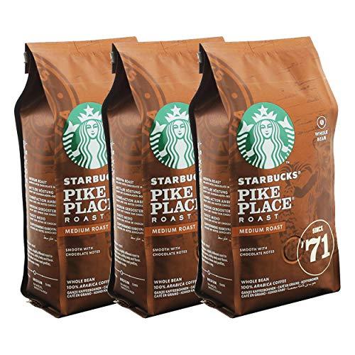 Starbucks Pike Place Kaffee, 3er Set, Medium Roast, Röstkaffee, Sanft, Schoko-Note, Ganze Bohnen, 3 x 200g