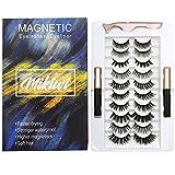 Magnetic Eyeliner and Magnetic lashes Mikiwi Kit, 10 Pairs Magntic EyeLashes and 2 Eyeliner, No Glue Reusable Silk False Lashes, Magntic EyeLashes and Eyeliner