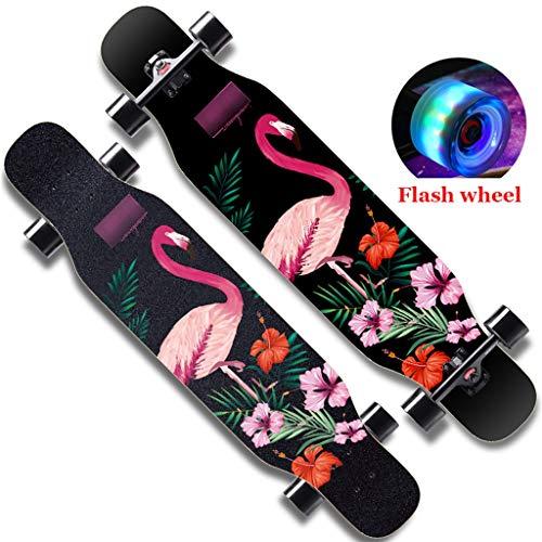 Best Deals! Gqping Professional Skateboard Skates Sliding Complete Fancy Road Board Four Flash Wheel...