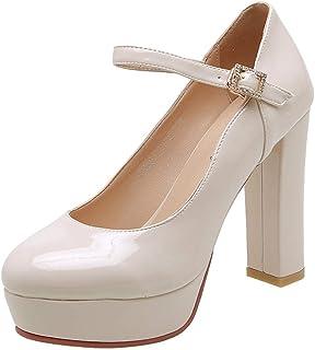 ELEEMEE Women Fashion Block Heel Pumps Platform