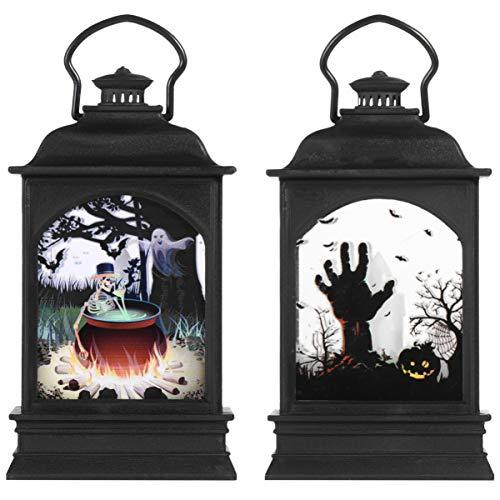 TOYANDONA 2 Stück Halloween Laterne Griff Halloween Ghost Lantern Party Tragbare Lampe für Halloween Outdoor Tischleuchten Dekoration