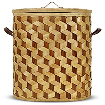 Asher Woods Laundry Hamper Basket 100% Handmade with Leather Handles