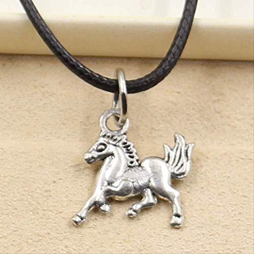 ZHIFUBA Co.,Ltd Collar con Colgante de Caballo de corcel de Color Plateado Tibetano, Encanto de Gargantilla, cordón de Cuero Negro, Precio de fábrica, joyería Hecha a Mano