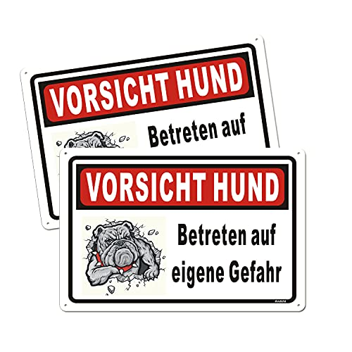 2 Stück VORSICHT HUND Schild für Haus Hoftor, Aluminium Metall Hundeschild für den Außenbereich, rostfrei, lichtbeständig, 350 x 250 mm