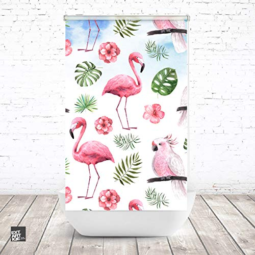 EXTARTIQE ERSATZ Duschrollo für Leerkassette von KLEINE Wolke tropisch pink2 Textil OHNE LEERKASETTE