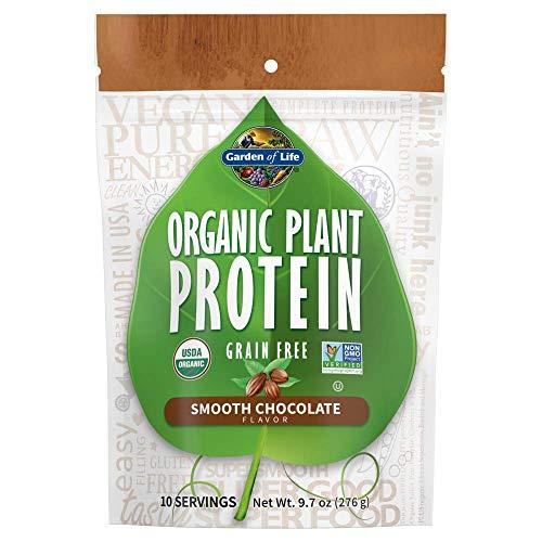 Garden of Life Organic Plant Protein Smooth Chocolate Powder, 10 Servings - Vegan, Grain Free & Gluten Free Plant Based Protein Shake with 1 Billion CFU Probiotics & Enzymes, 15g Protein