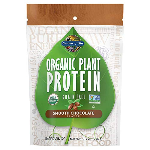 Price comparison product image Garden of Life Organic Plant Protein Smooth Chocolate Powder,  10 Servings - Vegan,  Grain Free & Gluten Free Plant Based Protein Shake with 1 Billion CFU Probiotics & Enzymes - Packaging May Vary