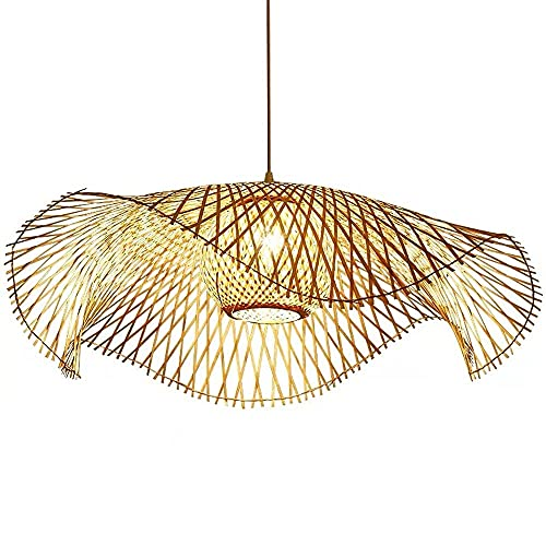 GXY bathtub Bamboo Chandelier Vintage Rustic Décor Pendant Country Crafts Artistic Hanging Lamp Ceiling Hanging Light Wicker Lamp Shade Wabi Sabi Hanging Light Fixture E27 Base
