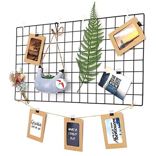 Reine Herzenssache Wandgitter Deko groß 40x80 cm (inkl. Wandbefestigung, Postkarten Sprüche, Fotoseil, Fototaschen) für Fotos und Notizen (Schwarz)