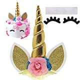 Unicorn Cake Topper with Eyelashes/Gold Unicorn Horn, Ears and Flowers...
