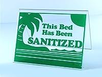 """アクリルサイン""""This Bed Has Been Sanitized"""" 3インチ x 4.5インチ グリーンレタリング 日焼けサロン用"""