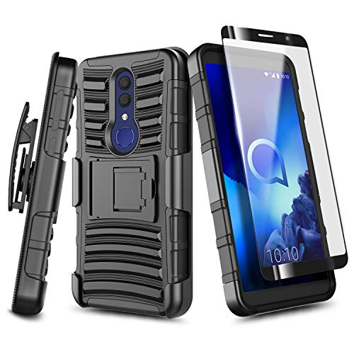 E-Began Case for Alcatel TCL A1X (A503DL), Alcatel Onyx (5008R) with Tempered Glass Screen Protector (Full Coverage), Belt Clip Holster Kickstand Shockproof Protective Heavy Duty Armor Case (Black)