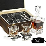 Whiskey Decanter Set for Men & Women - Whiskey Decanter, 2 Rocks Whiskey Glasses, 8 Stainless Steel Whisky Cubes, 2 Coasters, Silicone-Tipped Tongs & Freezer Pouch in Pinewood Box