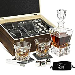 ✅ INDULGE IN A LUXURIOUS WHISKEY KIT: Get your hands on a deluxe twisted crystal 11 oz whiskey glass set including the 24oz modern Rocks collection Whiskey Decanter made of thick, solid crystal, the Freezer Base, Coasters, Tongs, 8 Whiskey Stones & F...