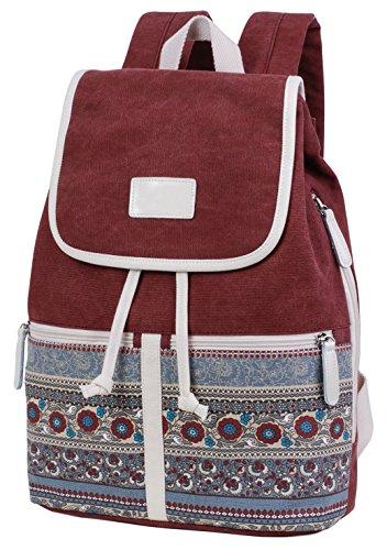 ArcEnCiel Backpack for Women Girls Canvas Student Shoulder Rucksack College Travel Bookbag (Maroon)