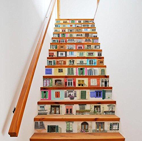 Pegatinas de pared para escaleras, autoadhesivas para ventanas de simulación 3D, reacondicionadas, ecológicas, papel pintado de PVC, para decoración del hogar, extraíble, fácil de aplicar, 1 juego (13 piezas)