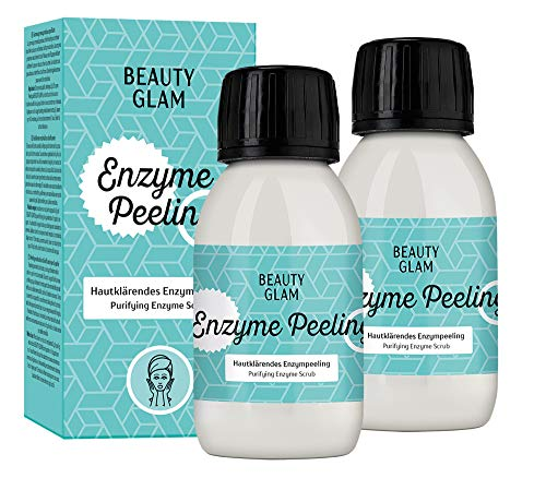 BEAUTY GLAM - Enzyme Peeling Porenverfeinerndes Enzympeeling für das Gesicht, Exfoliator für empfindliche Haut geeignet - Vegan, silikonfrei, ohne Farbstoffe, ohne Parfum, Made in Germany - 2x35gr