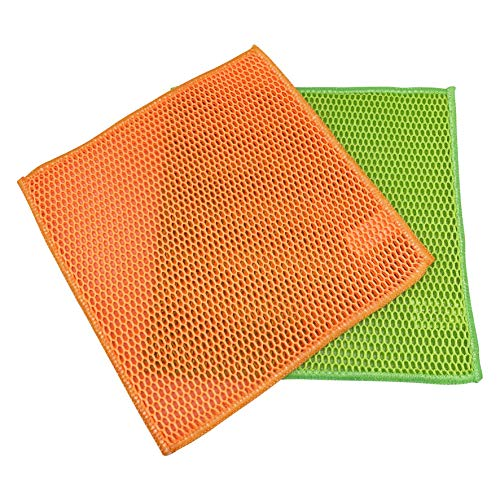 Votoka 2 x Teigreinigungstuch orange/grün Netztuch Teigtuch Teigreiniger Teigentferner Mesh Spültuch Reinigungstuch