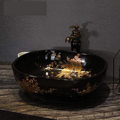 ZLXLX wastafel wastafel ovaal antieke Chinese keramische zwarte badkamer wastafel handwas schalen wastafel badkamer wastafel keramische wastafel gouden patroon