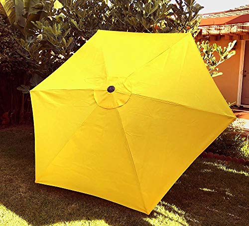 BELLRINO DECOR Replacement Yellow Strong & Thick Umbrella Canopy for 9ft 6 Ribs Yellow (Canopy Only)