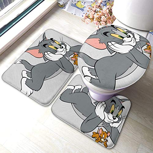 N \ A to-M and Je-Rry Bathroom Rug Mats Set 3 Piece Anti-Skid Pads Bath Mat + Contour + Toilet Lid Cover Bathroom Antiskid Pad